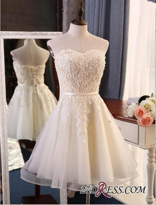 Lace Sweetheart Sleeveless Appliques Flowers Mini Delicate Homecoming Dress UK_4