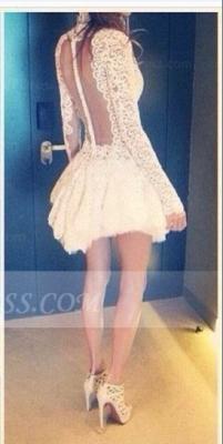 Elegant Lace See Through Homecoming Dress UKes UK High Neck Short Zipper Spring Cocktail Dress UKes UK with Appliques_2
