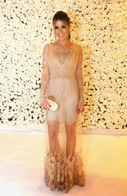 Shining Lace Long Prom Dress UKes UK Jewel Long Sleeve Vestidos Dress UK Applique Backless_6