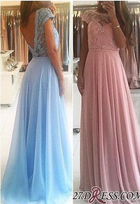 Lace A-line Chiffon Short-Sleeves Chic Floor-length Evening Dress UK_2