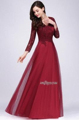 V-Neck Long-Sleeves Burgundy Floor-Length A-line Prom Dress UKes UK_5
