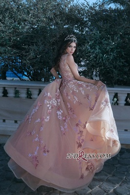 Gorgeous V-neck Sleeveless Evening Dress UK Lace Appliques Long MH0_3