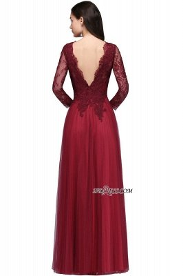 V-Neck Long-Sleeves Burgundy Floor-Length A-line Prom Dress UKes UK_9