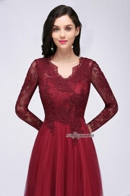 V-Neck Long-Sleeves Burgundy Floor-Length A-line Prom Dress UKes UK_10