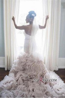 Open-Back Sleeveless Sheath Sweetheart Ruffles Organza Wave-Design Court-Train Wedding Dress_2