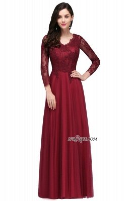 V-Neck Long-Sleeves Burgundy Floor-Length A-line Prom Dress UKes UK_7