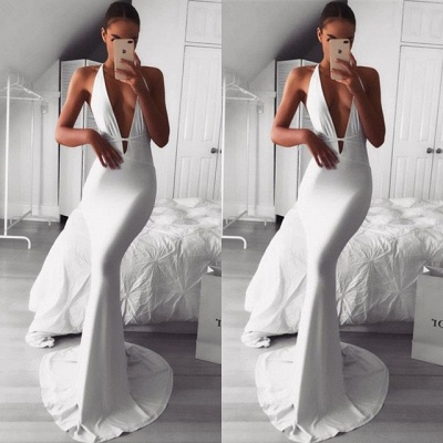 Sexy V-neck Sleeveless Prom Dress UK | 2019 Mermaid Evening Dress UK_3