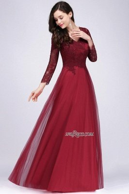 V-Neck Long-Sleeves Burgundy Floor-Length A-line Prom Dress UKes UK_8