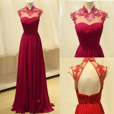 Luxury High-Neck Burgundy Long Prom Dress UKes UK Chiffon Beadings  Appliques_3
