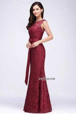 Bowknot-Sash Lace Floor-Length Burgundy Sleeveless Mermaid Prom Dress UKes UK_8