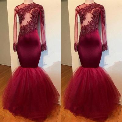 Modest Lace Appliques Long Sleeve Prom Dress UK | Mermaid Prom Dress UK RM0 BA9195_3