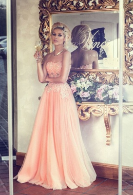 Appliques Long Lace Prom Dress UK Lovely Strapless Lace_2