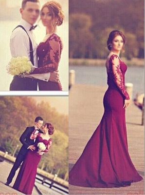 Luxury Long Sleeves Lace Appliques Evening Dress UK Mermaid Floor-Length_2