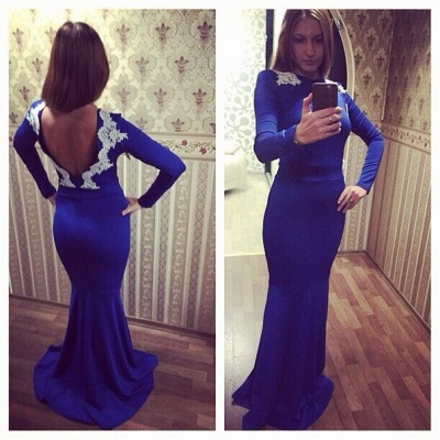 Newest Lace Appliques Evening Dress UK Long Sleeve Bodycon_3