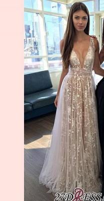 A-line Layers Elegant Lace-Appliques Deep-V-Neck Prom Dress UKes UK_2