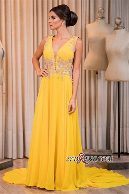 Yellow prom Dress UK, long chiffon evening gowns_1