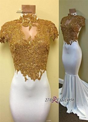 Luxury Cap-Sleeve Gold-Appliques White Mermaid Prom Dress UK PT0322_2