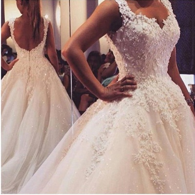 Delicate V-neck Tulle Lace Appliques Wedding Dress Ball Gown_2