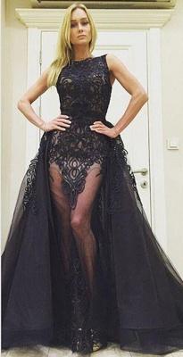 Elegant Black Lace Sleeveless Evening Dress UK Ruffles Floor Length_2