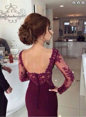 Luxury Long Sleeves Lace Appliques Evening Dress UK Mermaid Floor-Length_4