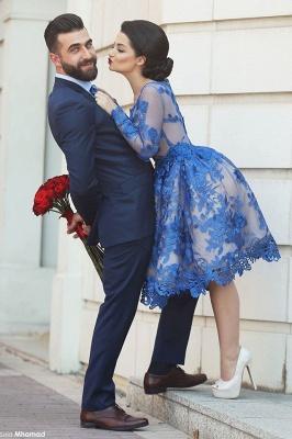 Delicate Ruyal Blue Appliques Prom Dress UK Long Sleeve_2