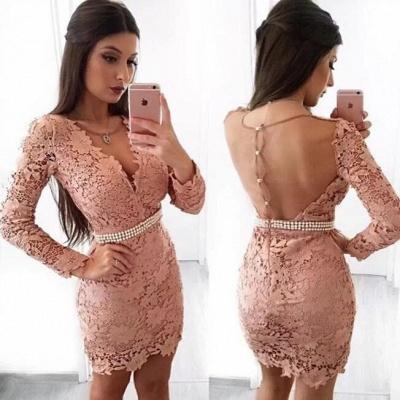 Beautiful Long Sleeve Homecoming Dress UK | 2019 Mermaid Lace Short Party Dress UK With Pearls_3