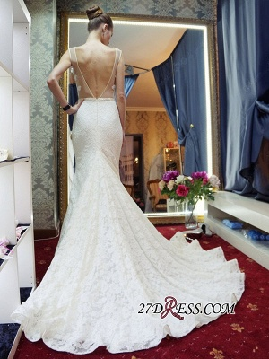Lace Sleeveless Gorgeous Zipper Sexy Mermaid Backless Wedding Dress_2