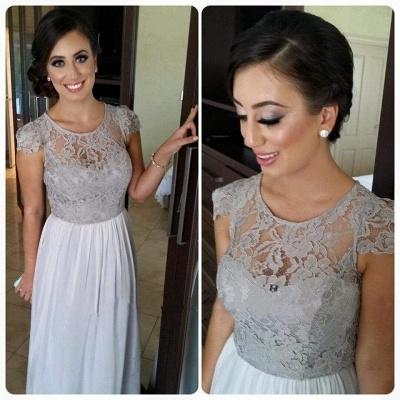 Sexy Illusion Cap Sleeve Chiffon Bridesmaid Dress UK With Lace_1