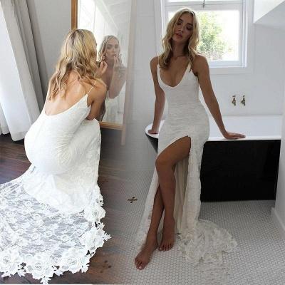 White Spaghetti Strap Sleeveless Wedding Dress   Side Split Wedding Dress_4