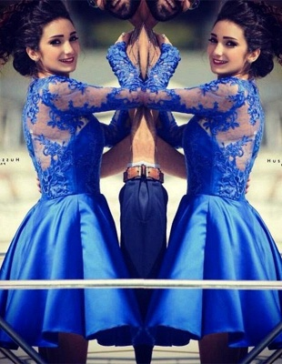 Modern Jewel Royal Blue Homecoming Dress UK Long Sleeve With Lace Appliques_1