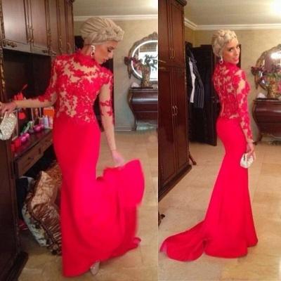 Red High Neck Mermaid Evening Dress UKes UK Long Sleeves Appliques Prom Dress UKes UK_2