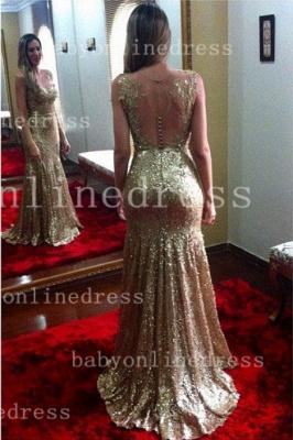Long Backless Vestidos Shining Sheath Dress UKes UK Appliques Golden Blingbling Gowns_1