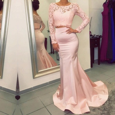 Luxury Long Sleeve Lace Prom Dress UK Two Pieces Mermaid Evening Gowns_3