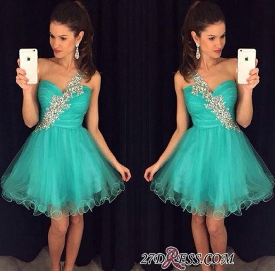 Luxury A-Line Tulle Appliques Short One-Shoulder Homecoming Dress UK AP0_2