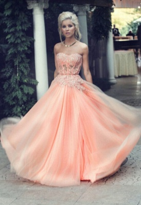 Appliques Long Lace Prom Dress UK Lovely Strapless Lace_5