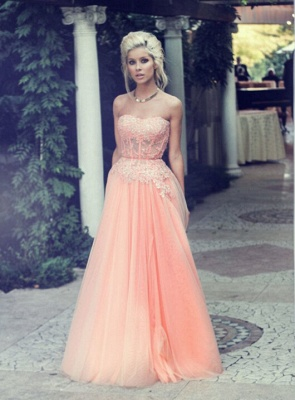 Appliques Long Lace Prom Dress UK Lovely Strapless Lace_4