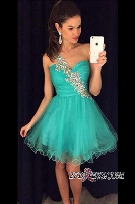 Luxury A-Line Tulle Appliques Short One-Shoulder Homecoming Dress UK AP0_3