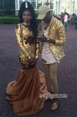 High-Neck Amazing Appliques Long-Sleeve Gold Mermaid Prom Dress UK JJ0102 BK0_1