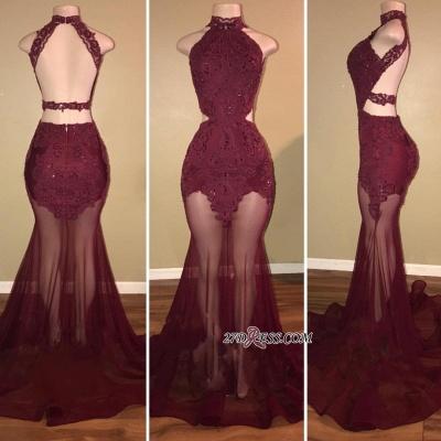 Luxury High-Neck Sleeveless Prom Dress UK Burgundy Mermaid With Sheer Skirt RM0 BA7713_2