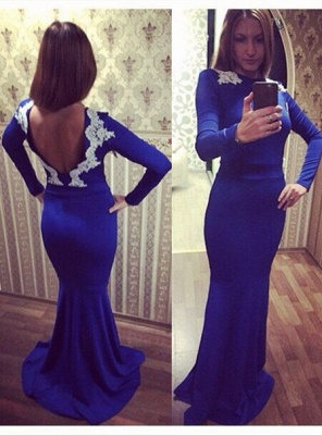 Newest Lace Appliques Evening Dress UK Long Sleeve Bodycon_1