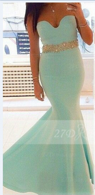Satin Elegant Evening Gowns with Green Prom Sweetheart Sleeveless Beading Sash Mermaid Charming Gowns_1