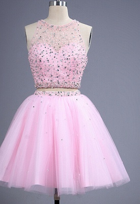 Hot Sale Pink two Pieces Short Prom Dress UK Beadings Tulle Homecoming Dress UK_3