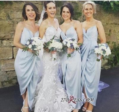 Spaghettis-Straps Ruffles Slit Sheath Sky-Blue Bridesmaid Dress UKes UK_2