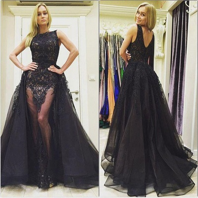 Elegant Black Lace Sleeveless Evening Dress UK Ruffles Floor Length_3