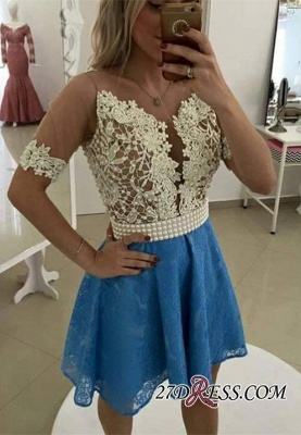 Lace Short-Sleeve Luxury Pearls Homecoming Dress UK_1