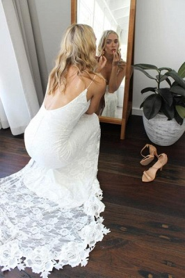 White Spaghetti Strap Sleeveless Wedding Dress   Side Split Wedding Dress_3