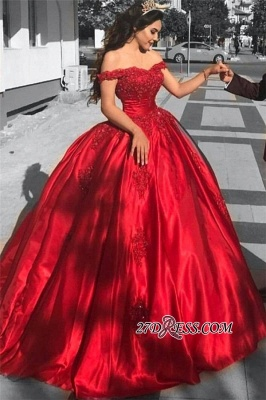 Red Off-the-Shoulder Evening Dress UK   Ball-Gown Prom Dress UK_2