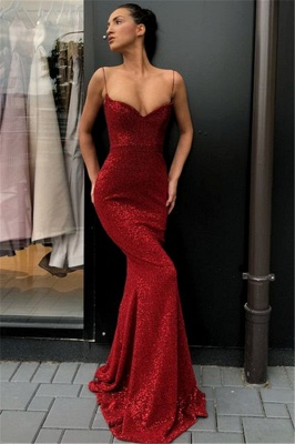 Affordable Sheath Sequins Long Cheap Prom Dress |  Spaghetti Straps Sexy Evening Dress  BC0920_1