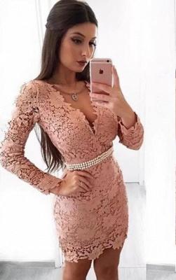 Beautiful Long Sleeve Homecoming Dress UK   2019 Mermaid Lace Short Party Dress UK With Pearls_1