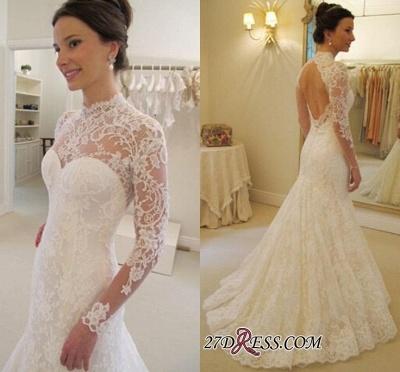 Lace Sweep-Train Sexy Mermaid Elegant Long-Sleeves Backless Wedding Dress_1